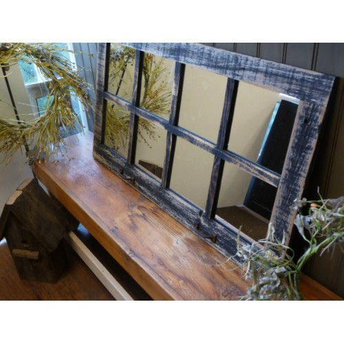 "37.5"" X 21.75"" Homesteader Style 8-Pane Window Mirror"