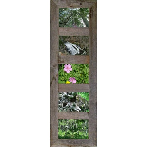 "Vertical Barnwood Panel frame for (5) 5"" X 7"" Pictures"