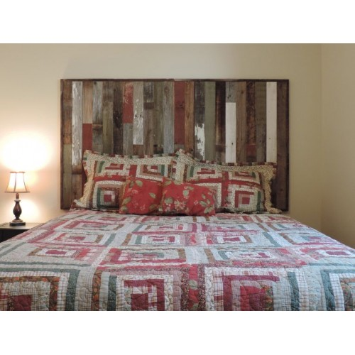 "Rustic Twin Size Bed Headboard (45 3/4"" X 36"") made of Reclaimed, Recycled Barn Wood. Wallmounted. Your Choice of Accent Colors"