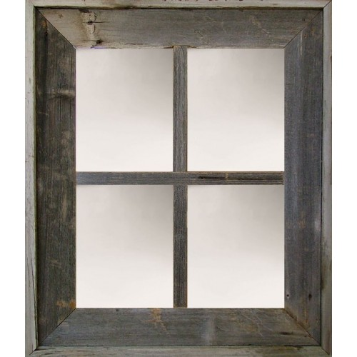 Wide Western Large 4-Pane Barn Window Mirror