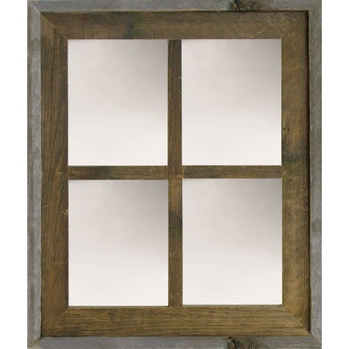 Narrow Western Large 4-Pane Barn Window Mirror
