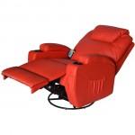 HomCom Deluxe Ergonomic Heated Vibrating PU Leather Massage Sofa Lounge Recliner - Red