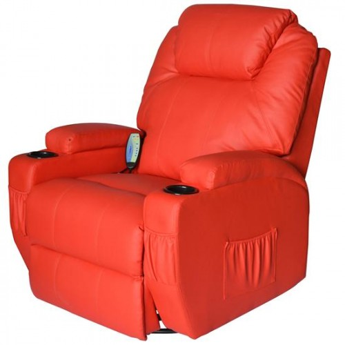 HomCom Deluxe Ergonomic Heated Vibrating PU Leather Massage Sofa Lounge Recliner - Red