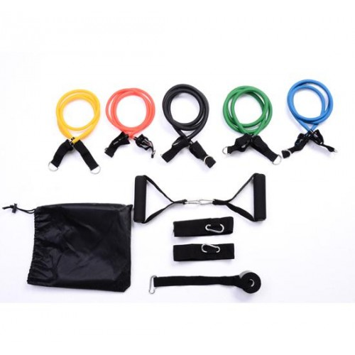 Soozier 11 pc Resistance Band Set Yoga Pilates Abs Exercise Fitness Workout Rope