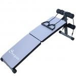 Soozier Adjustable Folding Ab Decline Sit Up Bench With Resistance Bands - Gray and Black