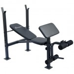 Soozier Incline / Flat Exercise Free Weight Bench w/ Curl Bar / Leg Extension