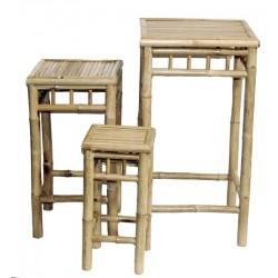 Bamboo 3 piece square nesting stool