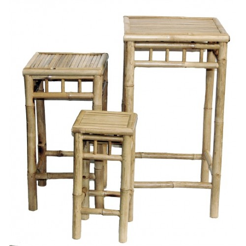 Bamboo 3 piece square nesting stool