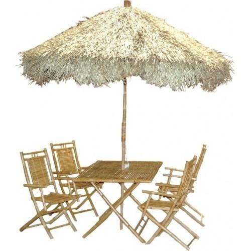Bamboo large palapa family patio set