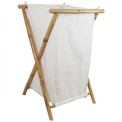 Bamboo canvas large hamper
