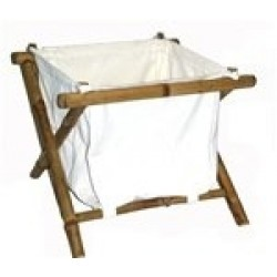 Bamboo small hamper with canvas