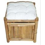 Bamboo storage stool with cushion
