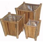 Bamboo 3 piece square planter set