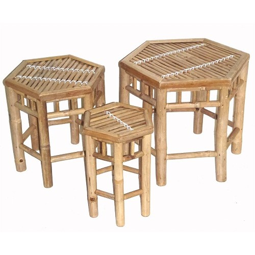 Bamboo nesting stool 3 piece hexagon