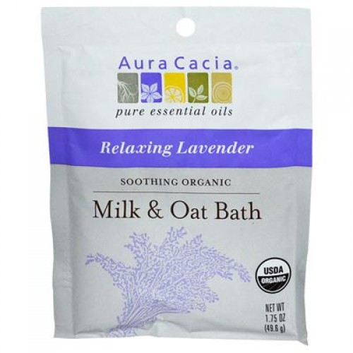 Aura Cacia Aromatherapy Body Care Soothing Milk & Oat Bath with Lavender (4x1.75 Oz)