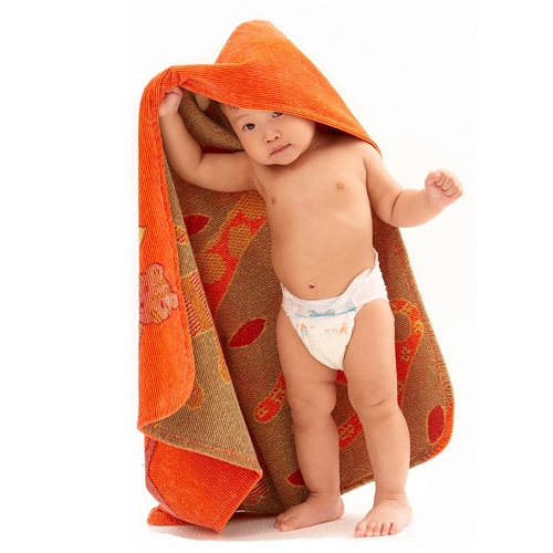 Orange Jungle Hooded Towel