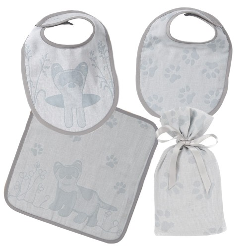 Grey Ferret Bib Set