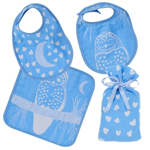 Blue Owl Bib Set