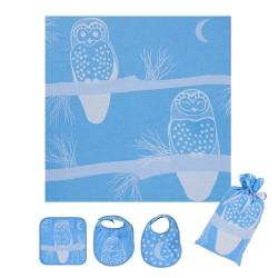 Blue Owl Swaddle Set