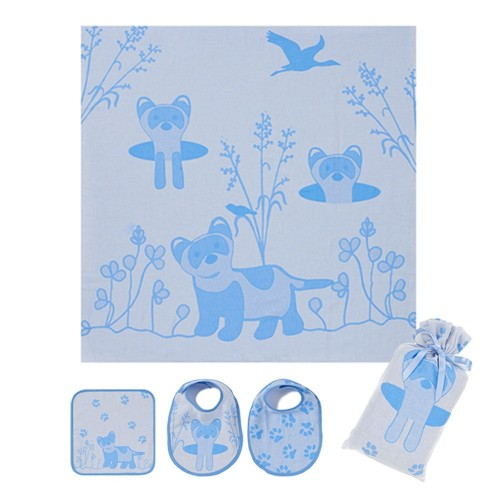 Blue Ferret Swaddle Set