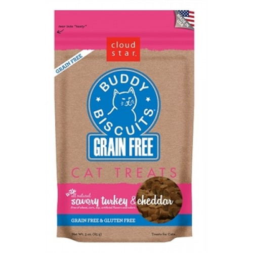 Cloud Star® Grain Free Buddy Biscuits for Cats - Turkey & Cheddar - 12 packages
